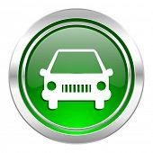 car icon, green button, auto sign