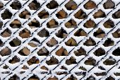 Frosty fence, winter texture