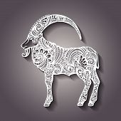 Vector Decorative Patterned Goat
