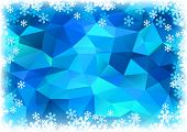 blue polygonal background with snow border