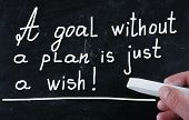 A Goal Without A Plan Is Just A Wish handwritten with chalk