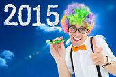 Geek ready to party against bright blue sky with clouds