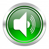 volume icon, green button, music sign