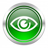 eye icon, green button, view sign