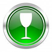 alcohol  icon, green button, glass sign