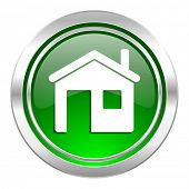 house icon, green button, home sign