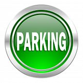 parking icon, green button