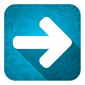 right arrow flat icon, christmas button, arrow sign