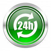 24h icon, green button