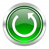 rotate icon, green button, reload sign