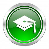 education icon, green button, graduation sign
