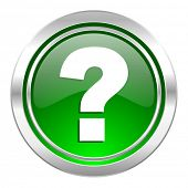question mark icon, green button, ask sign