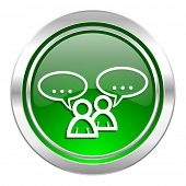 forum icon, green button, chat symbol, bubble sign