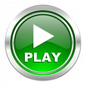 play icon, green button