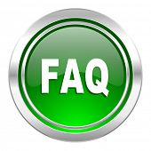 faq icon, green button