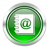 address book icon, green button