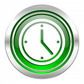 time icon, green button, watch sign
