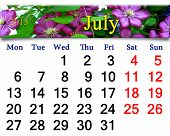 Calendar For July Of 2015 Year With Image Of Clematis