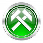 mining icon, green button