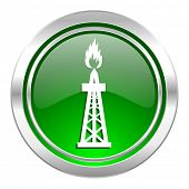 gas icon, green button, oil sign