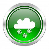 snowing icon, green button, waether forecast sign