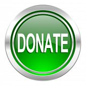 donate icon, green button