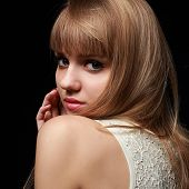 Beautiful Blond Teenage Girl Looking With Bob Hair Style