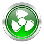fan icon, green button
