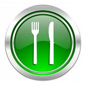 eat icon, green button, restaurant sign