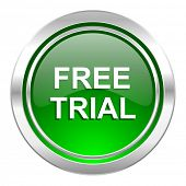 free trial icon, green button