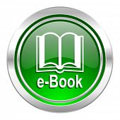 book icon, green button, e-book sign