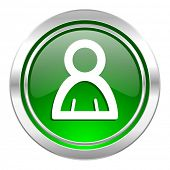 person icon, green button