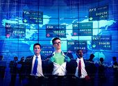 Superhero Businessmen Stock Market Team Concept