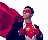 Superhero Businessman Chinese Isolated Concept