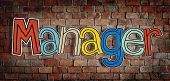 Manager Brick wall Single Word Text Background Clean Concept