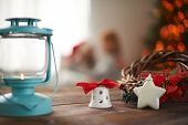 Christmas decorations on wooden table