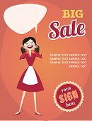 Girl Or Woman On Shopping Sale. Retro Style Sale Poster Vector Illustration.