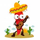 Mariachi chili pepper playing the guitar