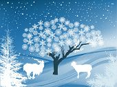 illustration with goats in winter landscape