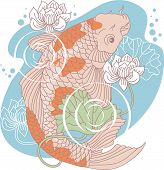 picture of koi tattoo  - Decorative vector drawing of a Koi carp - JPG