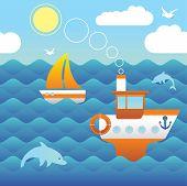 Cartoon style seascape