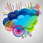 Abstract background with design elements. Cloud for your text, stars, speakers, raindrops.