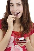 Valentines Day Woman Eating Heart Shaped Chocolates