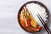 Rice Noodles With Chicken And Vegetables, Horizontal Top View