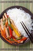 Chicken With Vegetables And Rice Noodles Top View Vertical
