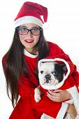 Woman And Dog Dressed In Santa Claus