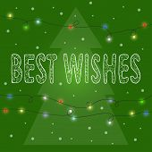 Bright Winter Holidays Card Background With  Hand-drawing Best Wishes And Spruce