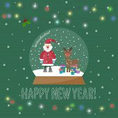 Glass Bowl With Santa and Snow And Shining Lights On Garland For Winter Holidays greeting card