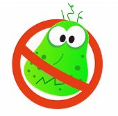 Stop virus - green virus in red alert sign