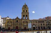 LA PAZ, BOLIVIA, MAY 8, 2014: Plaza San Francisco and Basilica of San Francisco